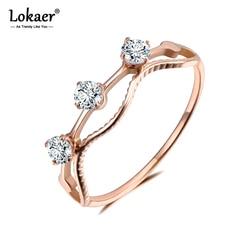Lokaer Trendy projekt 3 sztuk CZ kryształ rocznica pierścionki biżuteria dla kobiet dziewczyn różowe złoto ze stali nierdzewnej akcesoria Diy R19067
