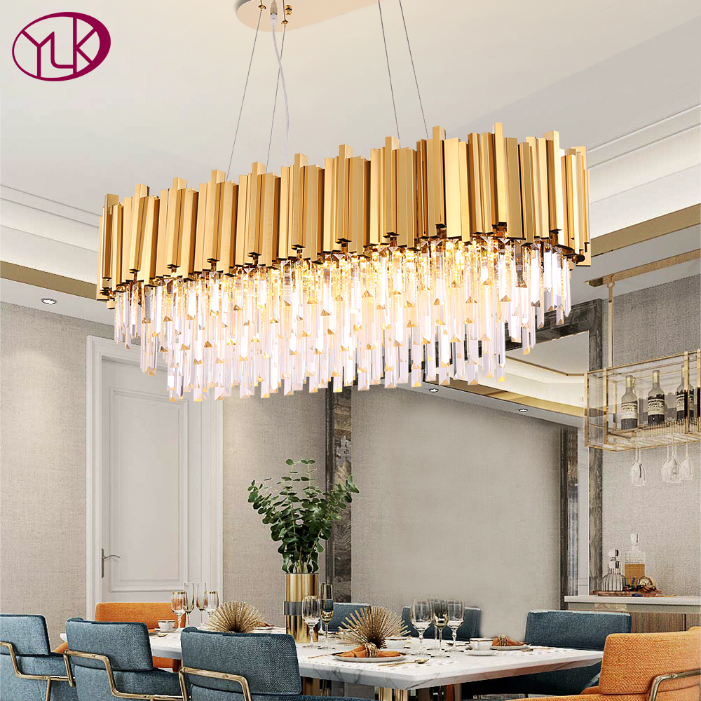 Rectangle Modern Chandelier Lighting For Dining Room Luxury Led Crystal Lamp In The Kitchen Island Gold/chrome Light Fixtures
