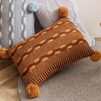 Mustard 30x50cm knit cushion