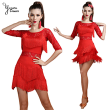 New Summer Half Sleeve Latin Dance Red Dress Dancing Tassel Mini Dress Black Ballroom Dance Red Dresses for Woman Sexy Dresses