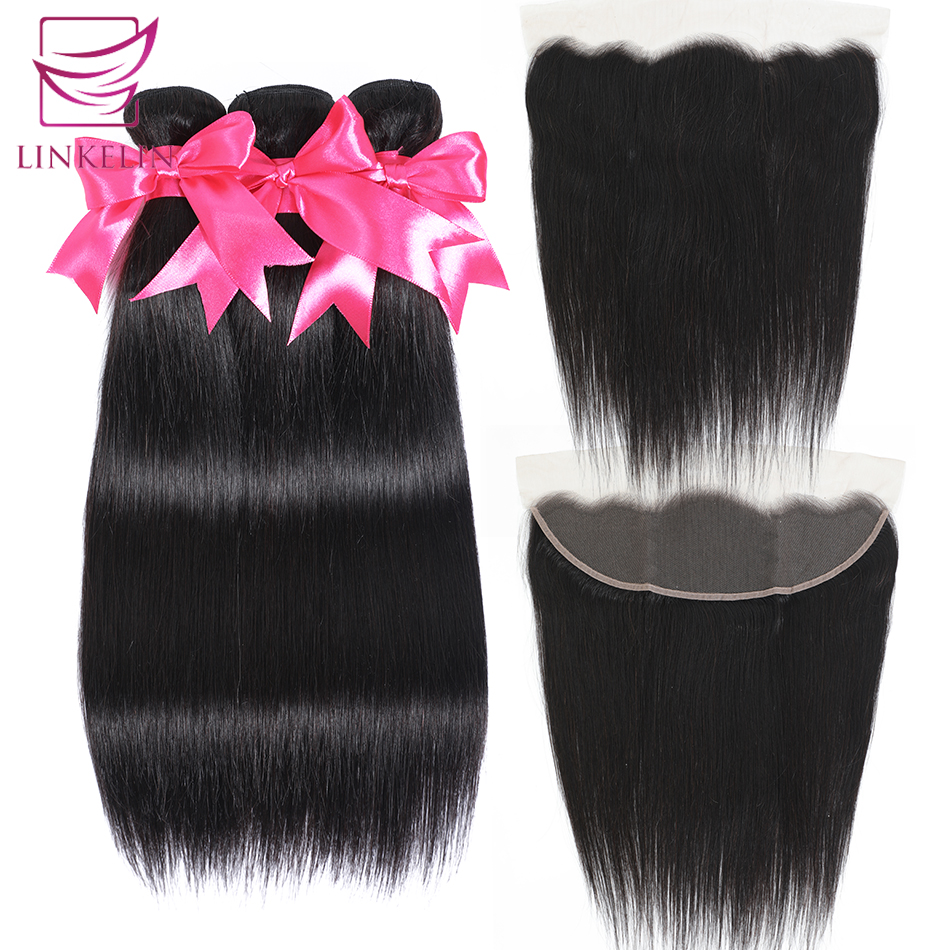 LINKELIN HAIR Straight Hair Bundles With Frontal 13*4 Lace Frontal With Bundles Brazilian Straight Human Hair Bundles