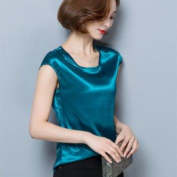 Women Blouses Casual OL Silk Blouse Summer Loose Basic Satin Shirt Work Wear Blusas Feminina Tops Shirts Plus Size XXXL/4XL Tops 1