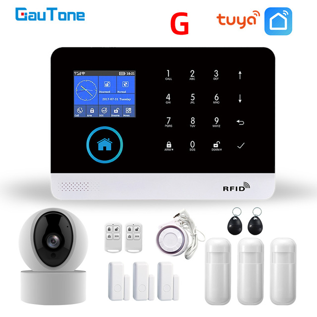 GauTone PG103 Tuya GSM Alarm System Wireless Home Security with WiFi IP Camera Smoke Detector RFID card Arm Disarm 1