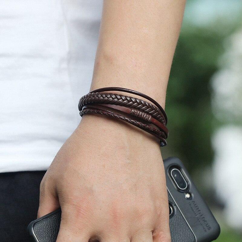 Bracelet en cuir fait à la main tressé  2