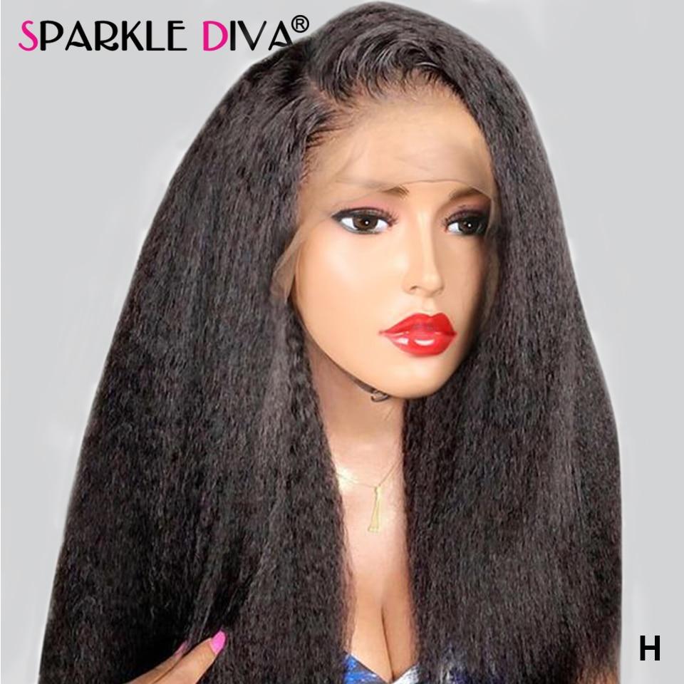 13x4 Kinky Straight Lace Front Human Hair Wigs Pre Plucked Brazilian Italian Yaki Lace Wigs 150% Remy Glueless Human Hair Wigs