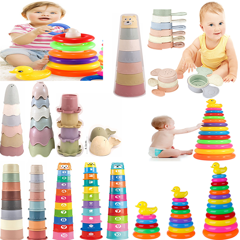 Children\'s Day Gift Pyramid Tower Stacking Duck Toys Baby Birth Montessori Educational Beach Kids Pool Bathtub Toy Toddler 0 12M