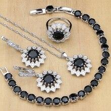 Siyah taş beyaz CZ takı setleri 925 gümüş gelin takı kadınlar için parti küpe/kolye/yüzük/bilezik/Kolye seti