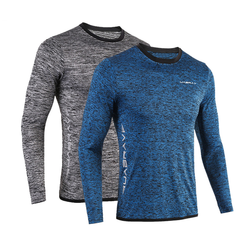 Men Long Sleeve Casual Skinny T-shirts New Autumn Running Shirts Gym Tops Breathable Quick Dry Fitness Sportswear Tees S-2XL