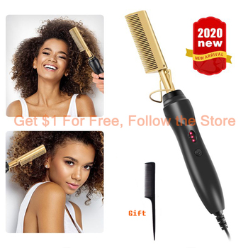 Hot Straightening Heat Pressing Comb Ceramic Curling Flat Iron Curler Designed Hair Straightener for Natural Black Hair Wigs 1
