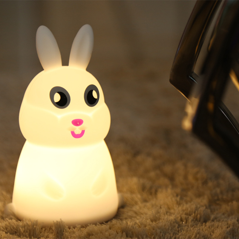 7 Colors Multicolor Cartoon Cute rabbit Pat Light Soft Silicone Table Lamp Home Decor for Baby Kids Touch Control Night light