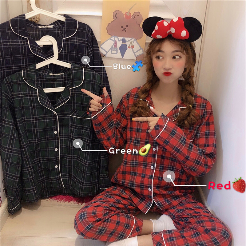 2019   Pajamas   for Women Plaid Long Sleeve Tops+Long Pants 2 Pcs   Set   Turn-down Collar Cotton Pyjamas Women Pijama Mujer Invierno