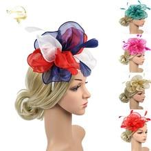 Red Bridal Flower Feathers Elegant Lady Hat Headdress Headwear Teal Bride Tiara Wedding Hats and Fascinator Accessories