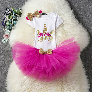 1 2 Year Birthday Baby Girl Dress Summer Girls Clothes Kids Dresses For Girl Party Tutu Skirts Bodysuit Outfits 3pcs Clothing(China)
