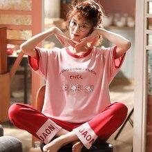 Plus Größe M 5XL Frauen Kurzarm Lange Hosen Pyjama 100% Baumwolle Rundhals Cartoon Lose 2 Stück Set Homewear Kleidung