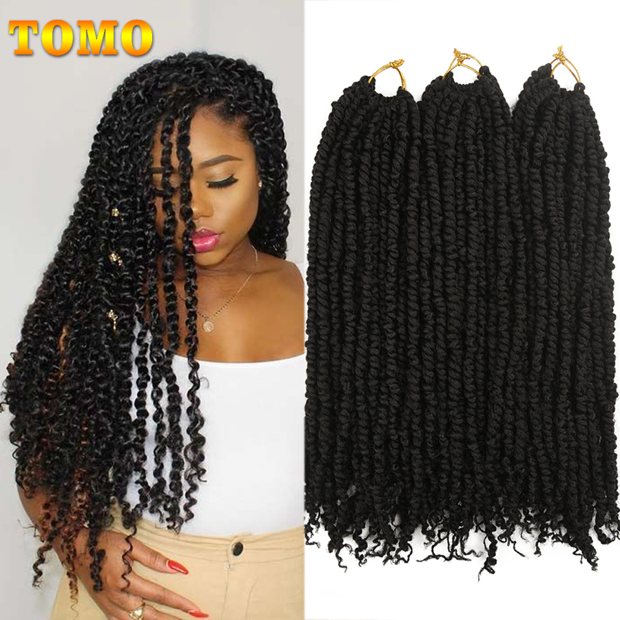TOMO 18inch Fluffy Crochet Braids Ombre Spring Twists Hair 12 Roots Synthetic Braiding Hair Extensions Braids 45cm Passion Twist