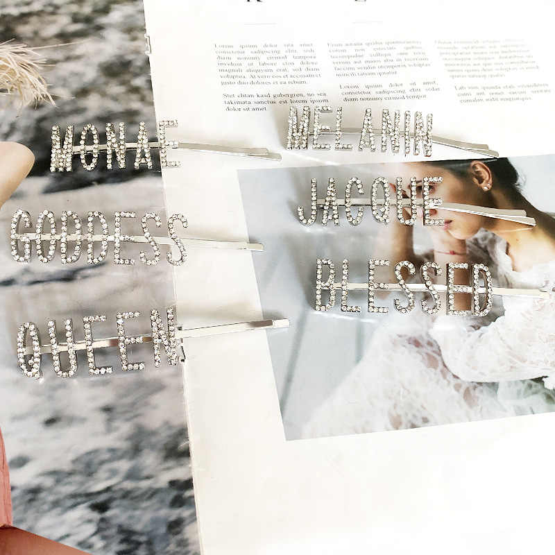 1 pc 반짝이 편지 크리스탈 머리핀 라인 석 머리핀 금속 바레트 여성 헤어 스타일링 액세서리 여왕/여신/축복