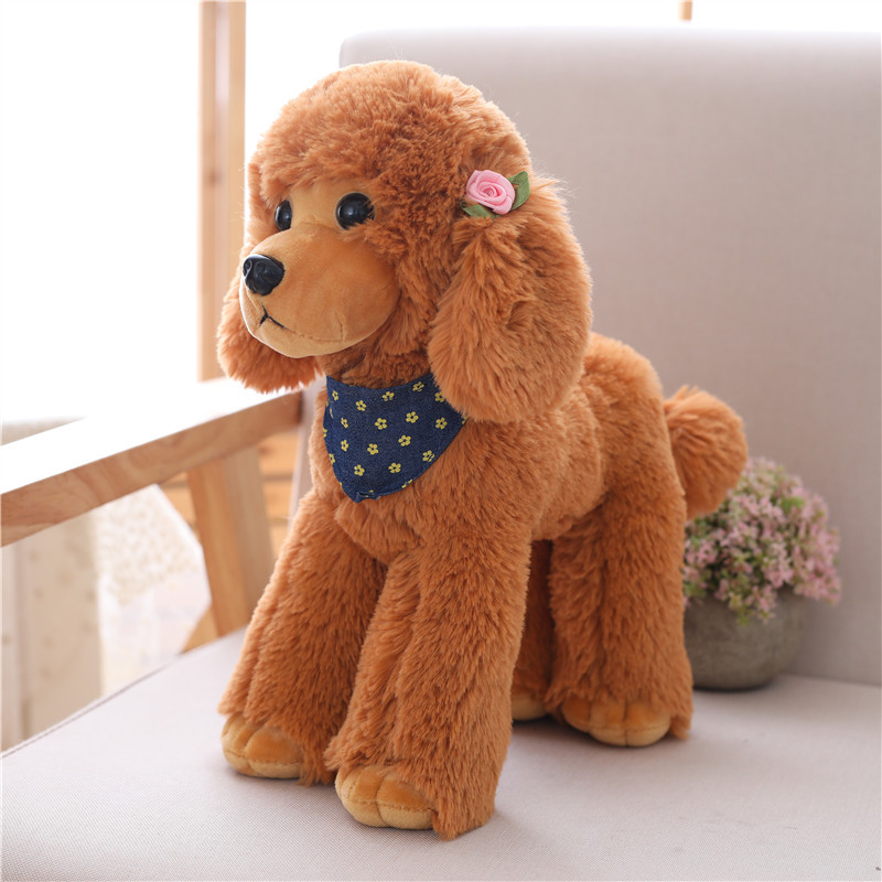 6 Color 25-40cm Simulation Plush Dog Doll, Poodle Plush Home Furnishings Toys For Girls Birthday Gifts