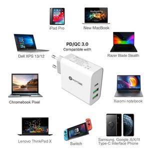 WOTOBE USB-C настенное зарядное устройство, 1 порт PD3.0 60 Вт/45 Вт/30 Вт QC3.0 зарядное устройство для MacBook Pro/Air iPad Pro,2 порта USB для S8/S10 iPhone 8/X/11