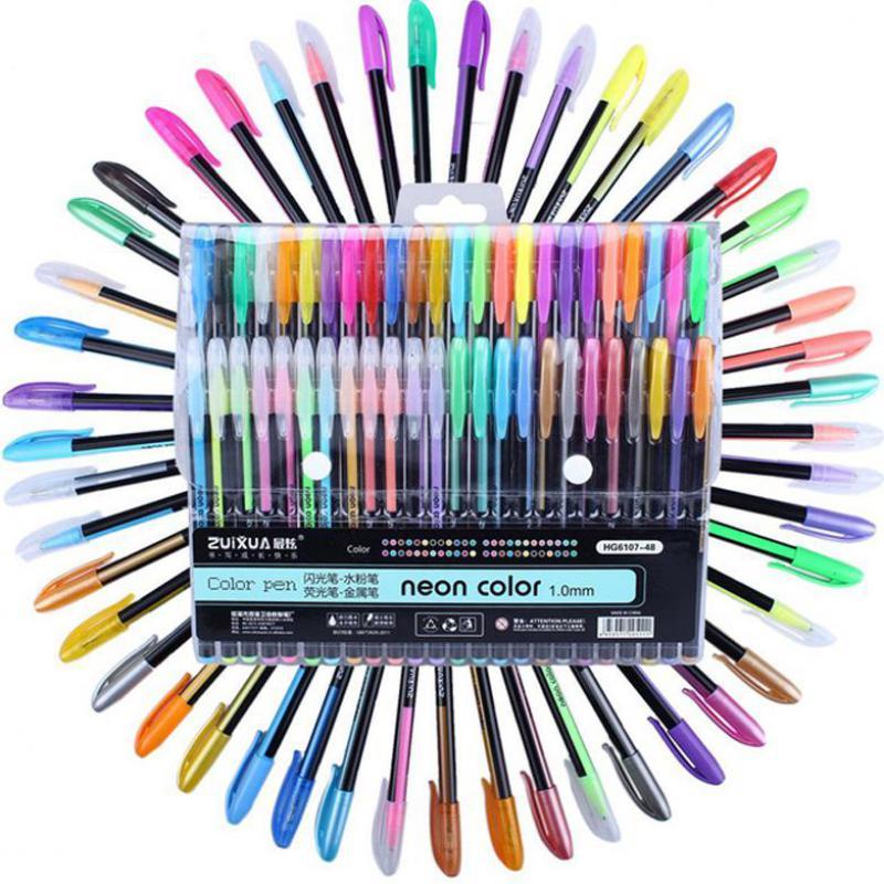 48 шт. цветная ручка для рисования с блестками, цветные маркеры, набор гелевых ручек, заправляемые маркеры для роллербола, пастельные неоновы...