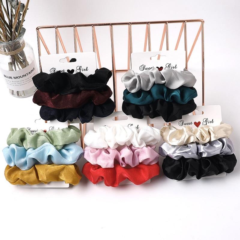3/6Pcs/Set Women Scrunchies Hair Ring Elastic Hair Bands Ponytail Holder Hair Ties Rope Girls Hairbands Hair Accessories Gifts