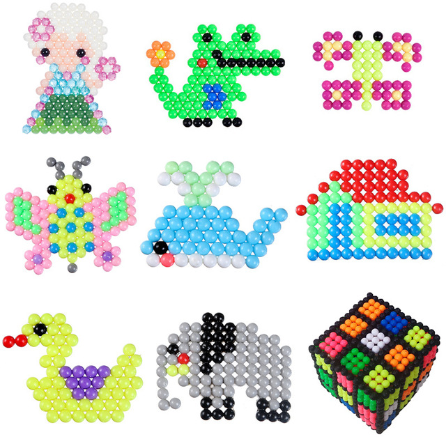 100Pcs/Set 42 Colors Water Spray Aqua Perler Magic Beads Educational 3D Puzzles Accessories for Children kids Toys