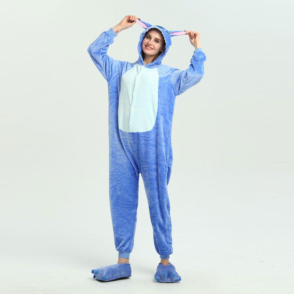 QHYZOU Stitch Couple Pajamas Sets Boys Onesies For Adults Funny Sleepwear Flannel Party Cartoon Men's Sleep&Lounge Warm Cute