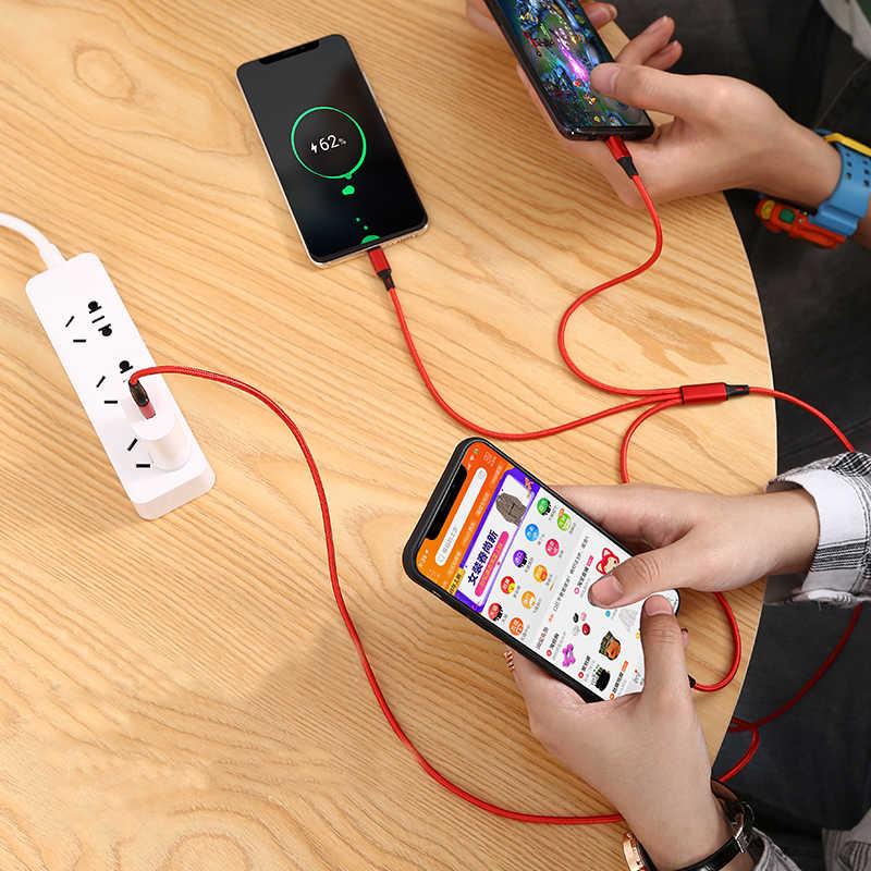 Beleza usb cabo de carregamento 3 em 1 micro usb tipo c carregador cabo para samsung s9 multi porta usb vários cabos do telefone móvel usbc