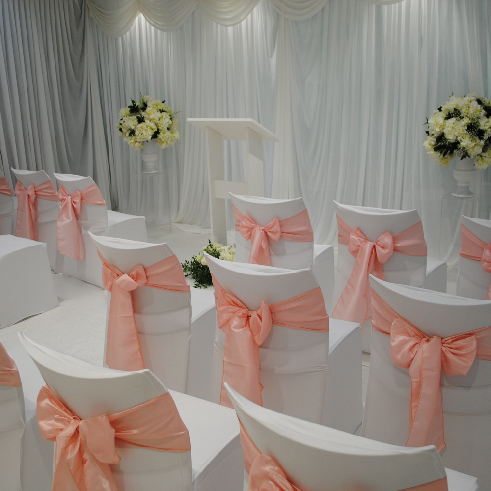 25PCS/Lot Satin Chair Sash Bow Ties Solid Color  For Banquet Wedding Hotel Home Party Chair Cover Craft  Decoration Supplies