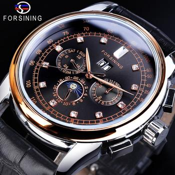 Forsining 2019 Mechanical Automatic Mens Watch Top Brand Luxury Diamond Clock Black Leather Strap Fashion 3 Dial Man Wristwatch