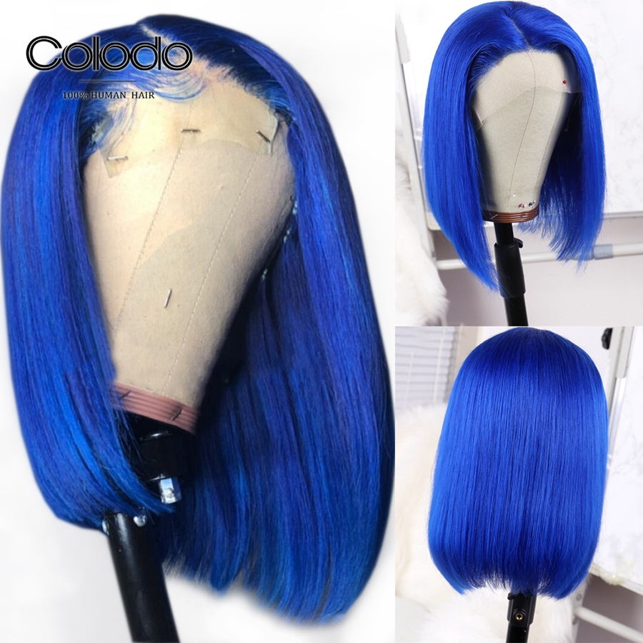 COLODO Brazilian Bob Lace Front Wigs Colored Short Blue Human Hair Wig With Baby Hair Pre Plucked Remy Hair Side Part Lace Wigs