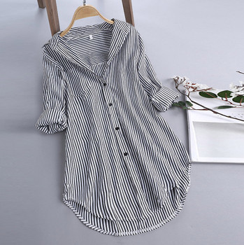woman tops fashion new blouses Chic Stripe Long Sleeve Turn-down Collar Button Loose Top Shirt Blouse
