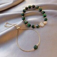 simple  bracelet 2 piece set with Noble green rhinestone bracelet for women lady special bracelet adjustable