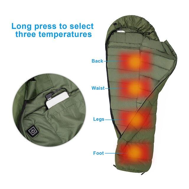 Agemore 220x80cm Envelope Winter Sleeping Bag Electric Heating Camping Sleeping Bag Outdoor Traveling Sleeping Bag Waterproof 5