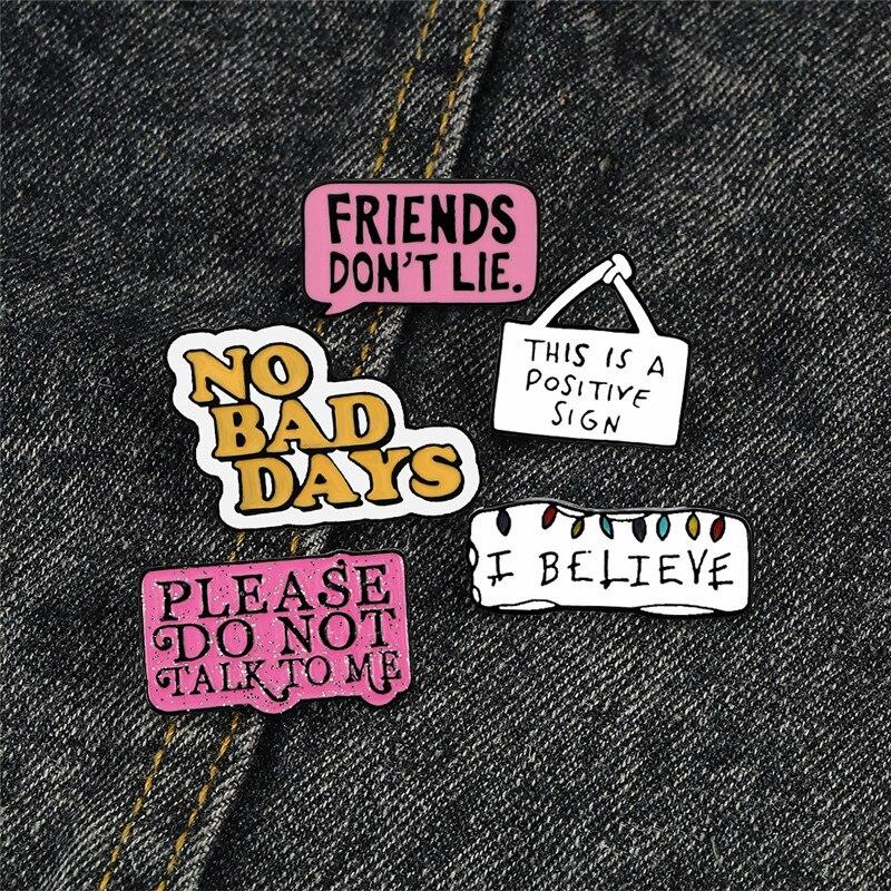 Значки с эмалью для женщин и мужчин, знаки с символами надписи «Я верю, не лгай», знаки для джинсовой рубашки, сумок, лацканов, ювелирные изде...