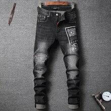 2020 Печатать Черный Цвет Уличный Байкер Джинсы Мужской Мода Уменьшают Подходящие Сращены Дизайнер Рваные Хип-Хоп Брюки