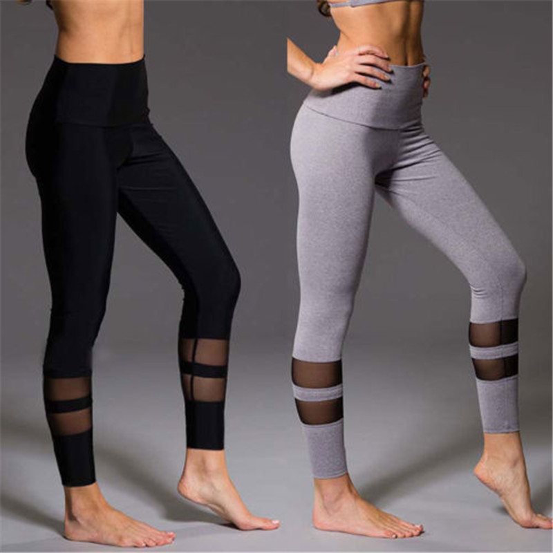 Women Sports Pants Sexy Mesh Stitching Workout Leggings Women Fitness High Waist Gym Sport Running Long Leggings Women Trousers