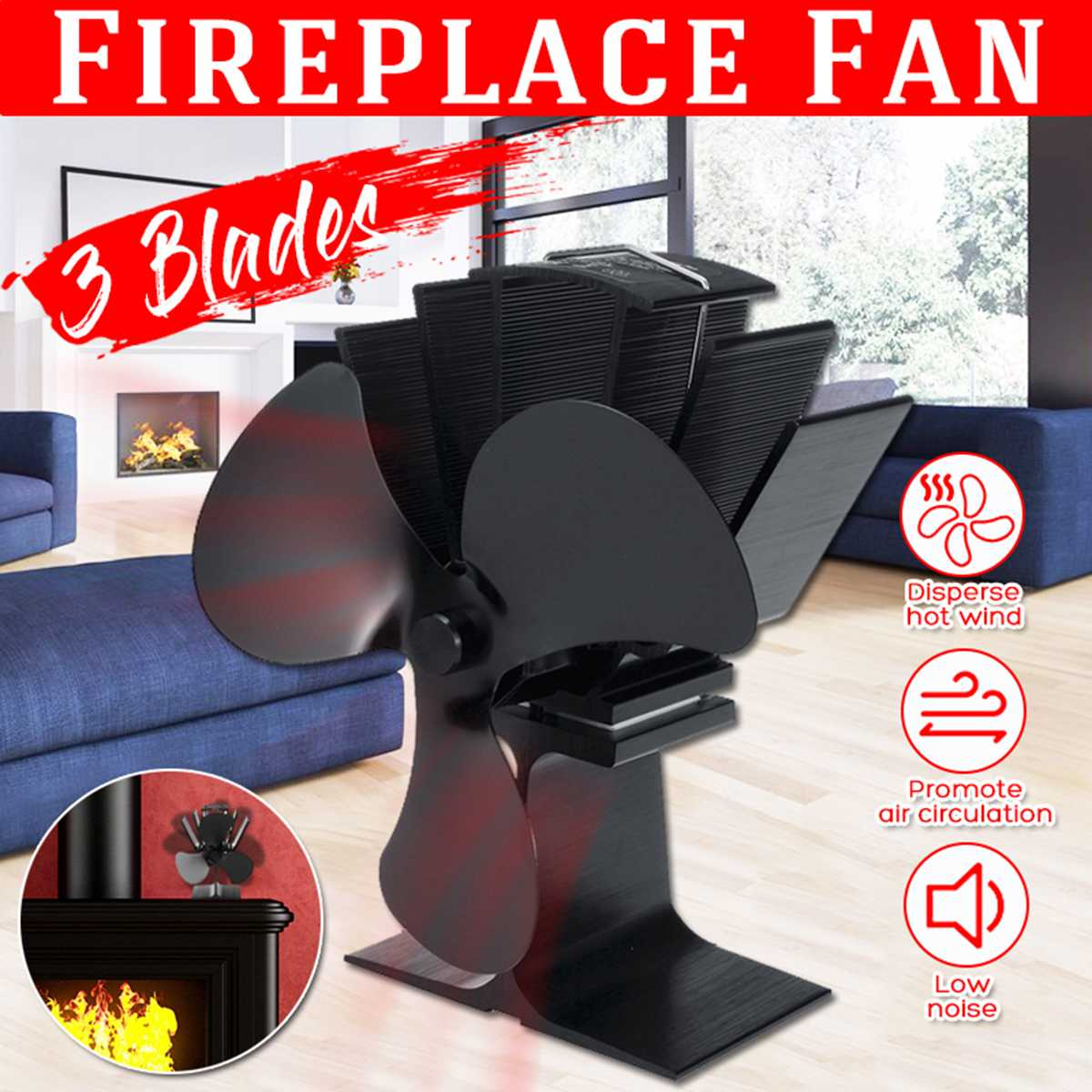 Black 3 Blades Heat Powered Stove Fan Log Wood Burner Ecofan Quiet Black Home Fireplace Fan Efficient Heat Eco Stove Top Fan New