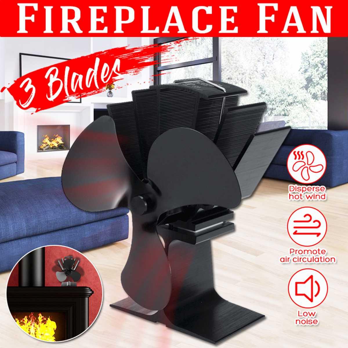 Black 3 Blades Heat Powered Stove Fan Log Wood Burner Ecofan Quiet Black Home Fireplace Fan Efficient Heat Eco Stove Top Fan New