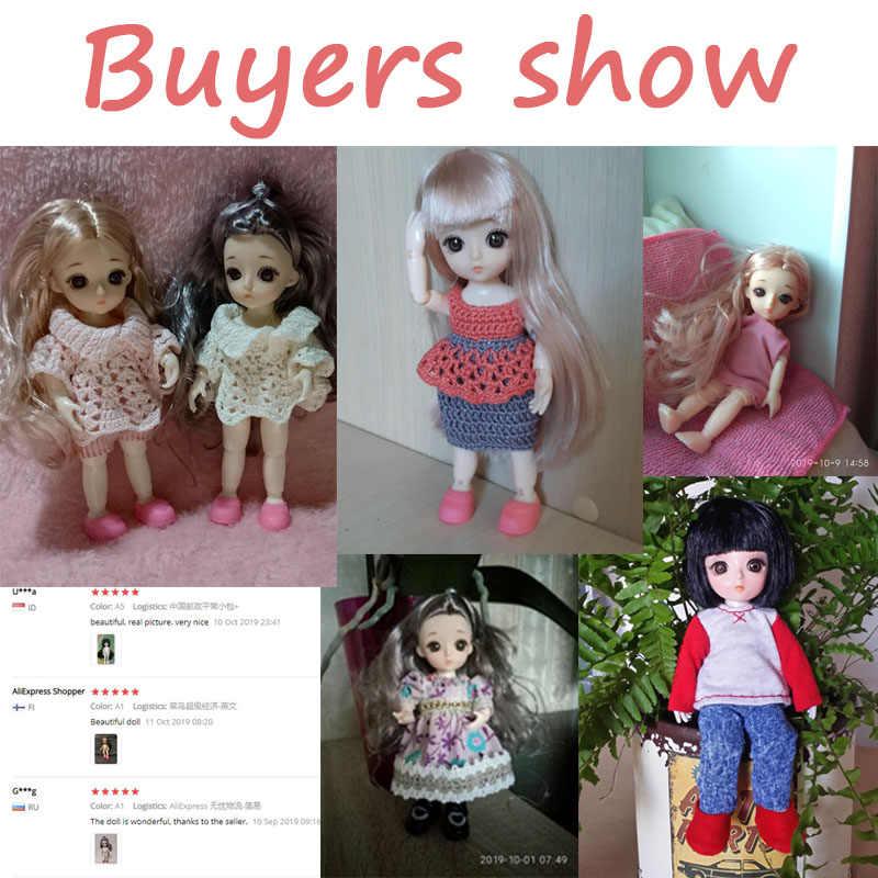 16cm bjd bonecas 13 joint moveable original 1/12 princesa boneca brinquedos maquiagem vestido nu bonito do bebê boneca brinquedo para crianças presentes