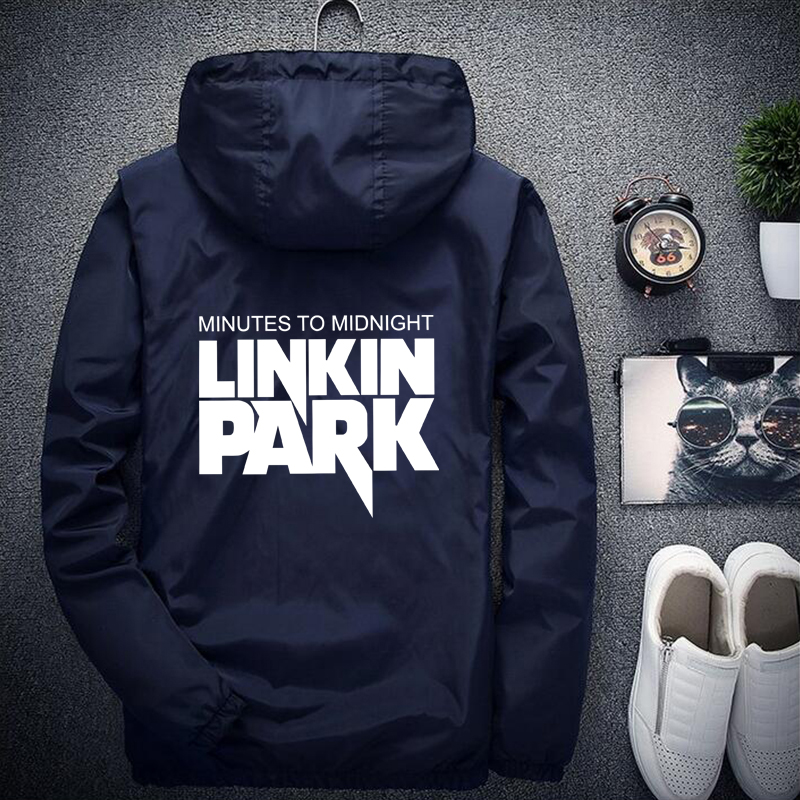 Linkin Park Jacket Light-Reflective Men/Women Windbreaker Hip Hop Rapper Hooded Jacket Coat