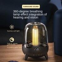 Kreative Wireless Stereo Lautsprecher Schreibtisch lampe Mit Transparent Design, Atmen LED Licht, Bluetooth 5.0, TF Karte & AUX Rollenmaschinenlinie Typc eingang