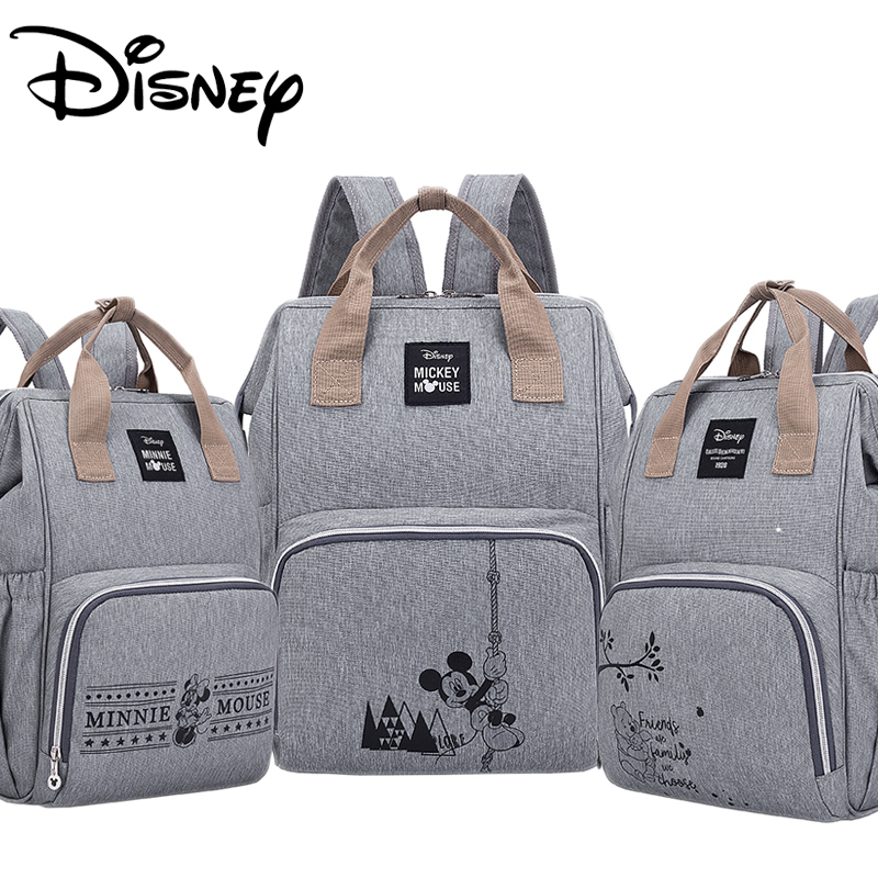 Disney Diaper Bag Backpack Large Capacity Waterproof Diaper Bag Set Mommy Pregnant Women Backpack Travel Land Bag Mickey Babybag