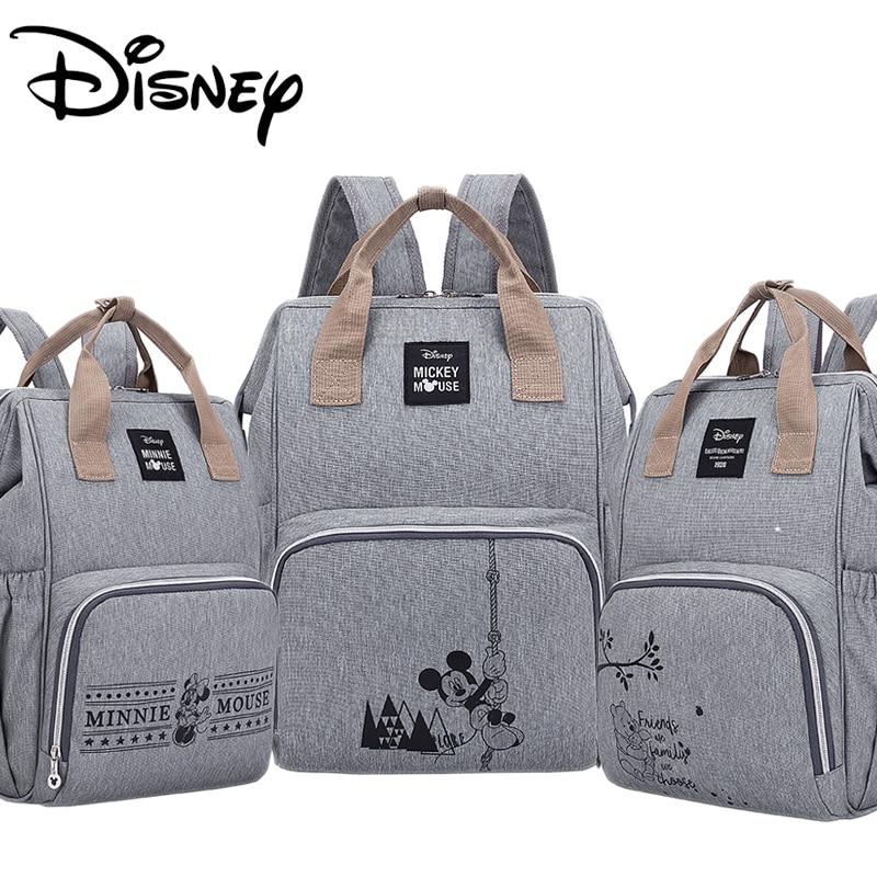 Disney Diaper Bag Backpack Large Capacity Waterproof Diaper Bag Set Mommy Pregnant Women Backpack Travel Land Bag Mickey Babybag