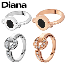 Diana high quality Bulgaria S925 sterling silver ring fashion luxury jewelry black and white double rotating lady couple
