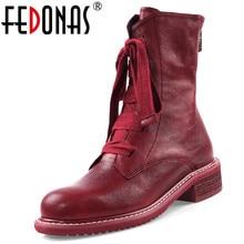 FEDONAS/Новинка; теплые удобные женские ботильоны из овечьей кожи; короткие ботинки на платформе с перекрестной шнуровкой и молнией; зимняя повседневная женская обувь для вечеринок