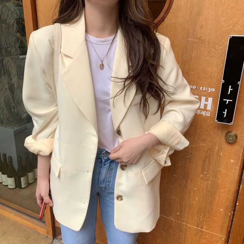 Alien Kitty 2019 Hot Office Ladies Thin Casual Vintage Stylish Slimming Women OL Cotton All Match Fresh Feminine Loose Blazers