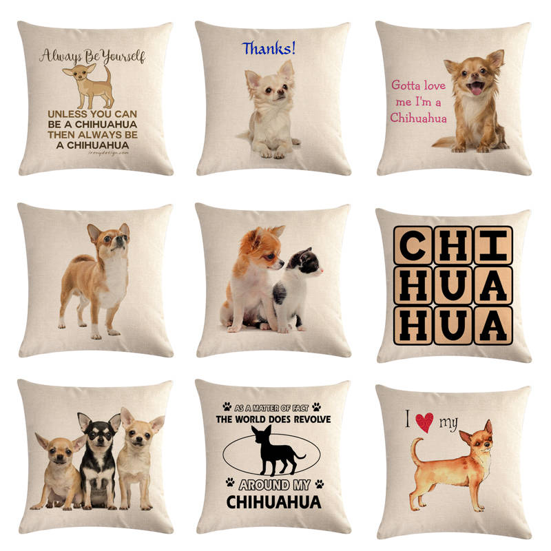 45cm*45cm Pet Dog Chihuahua Design Linen/cotton Throw Pillow Covers Couch Cushion Cover Home Decorative Pillows