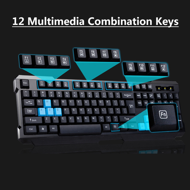 2.4G Wireless Connection Gaming Keyboard & Mouse Set Splashproof Auto Sleep Long Battery Life for Office Home computer gamer 3