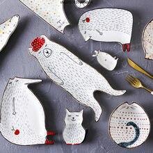 Креативные блюда в виде животных керамические тарелки для завтрака