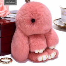 Cute Pluff Bunny Keychain 14cm Rex Genuine Rabbit Fur Key Chains Women Bag Toys Doll Fluffy Pom Pom Lovely Pompom Keyring(China)